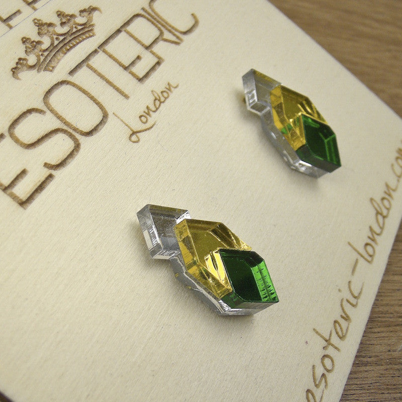 Geometric Stud Earrings - Silver/ Yellow/ Green