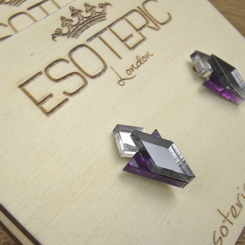Geometric Stud Earrings - Grey/ Silver/ Purple