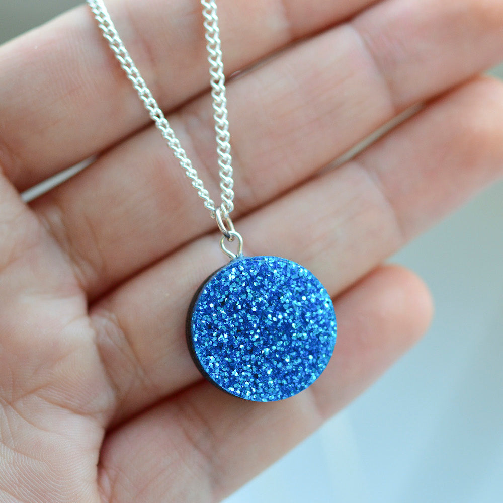Glitter Dot Necklace - Royal Blue