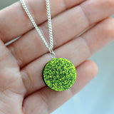 Glitter Dot Necklace - Chartreuse Green