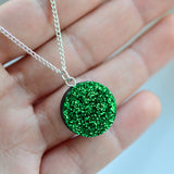 Glitter Dot Necklace - Grass Green
