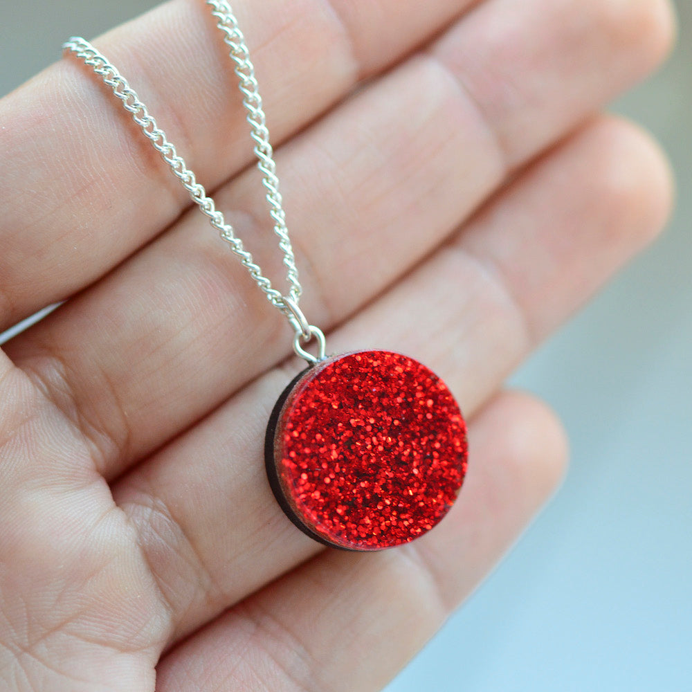 Glitter Dot Necklace - Red