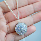 Glitter Dot Necklace - Holographic Silver