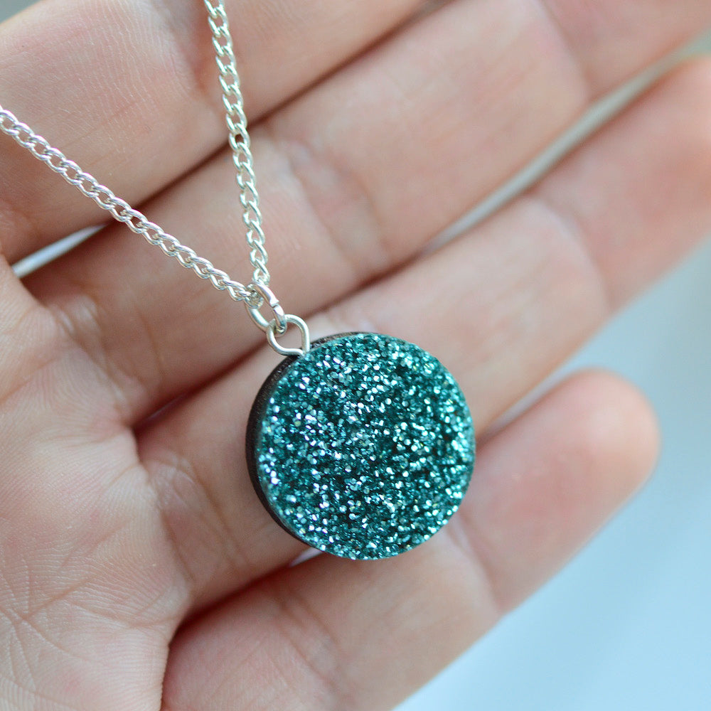 Glitter Dot Necklace - Turquoise