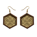 Leather Inlay Dangle Earrings - Hexagons