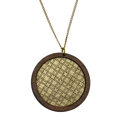 Leather Inlay Necklace - Circle