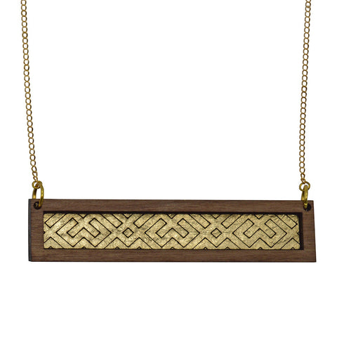 Leather Inlay Necklace - Bar