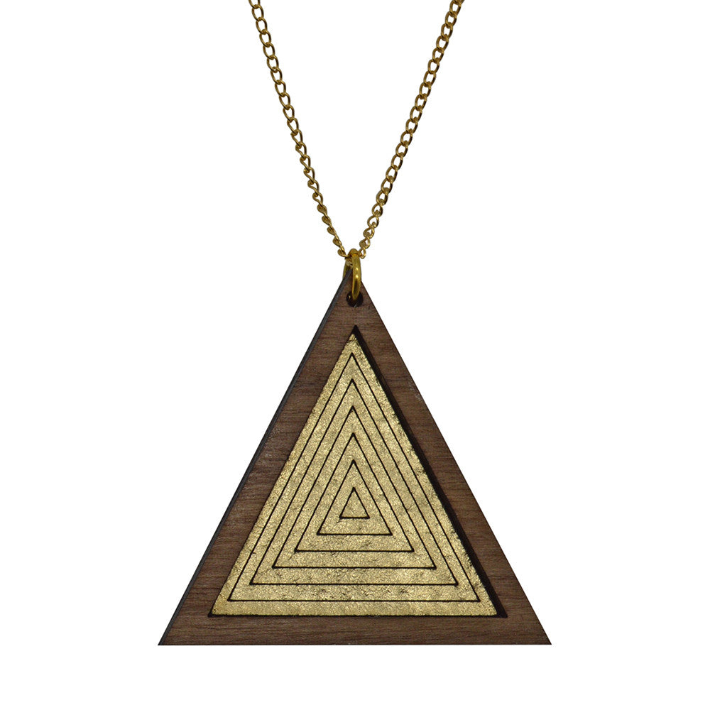 Leather Inlay Necklace - Triangle