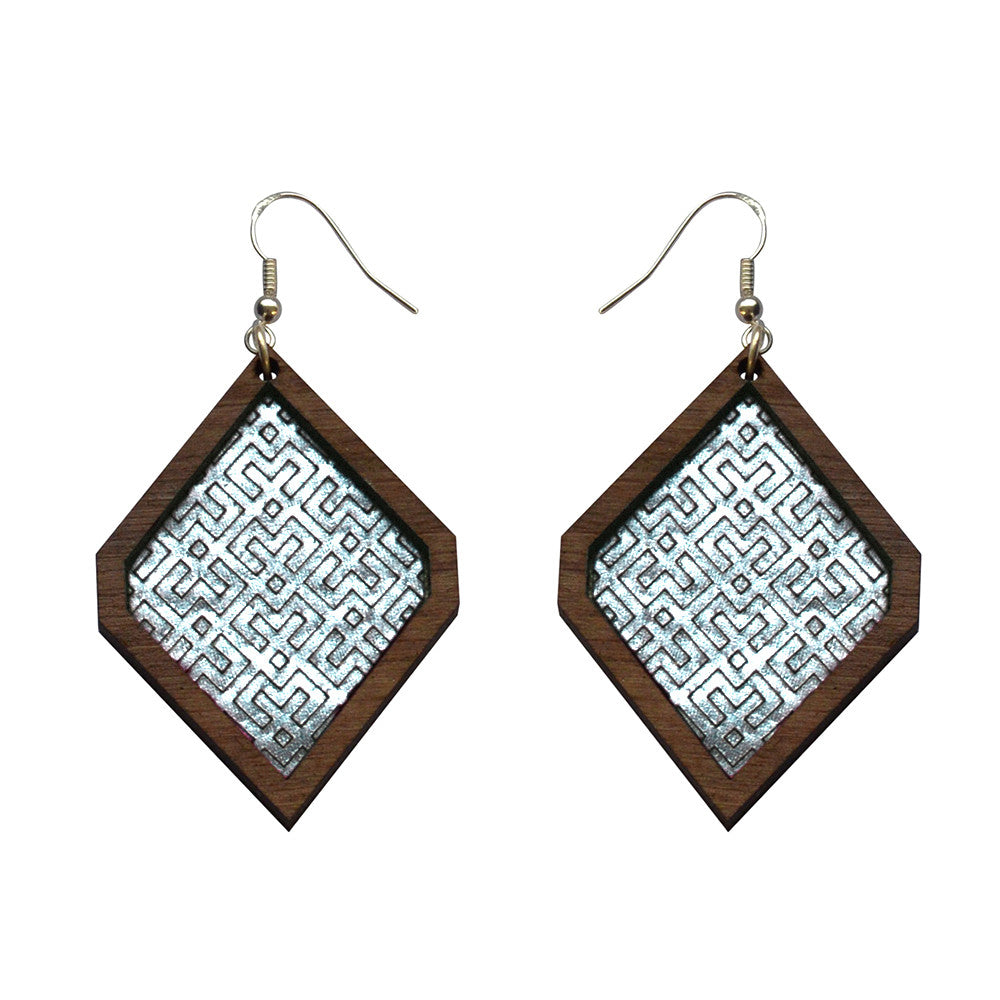 Leather Inlay Dangle Earrings - Diamonds
