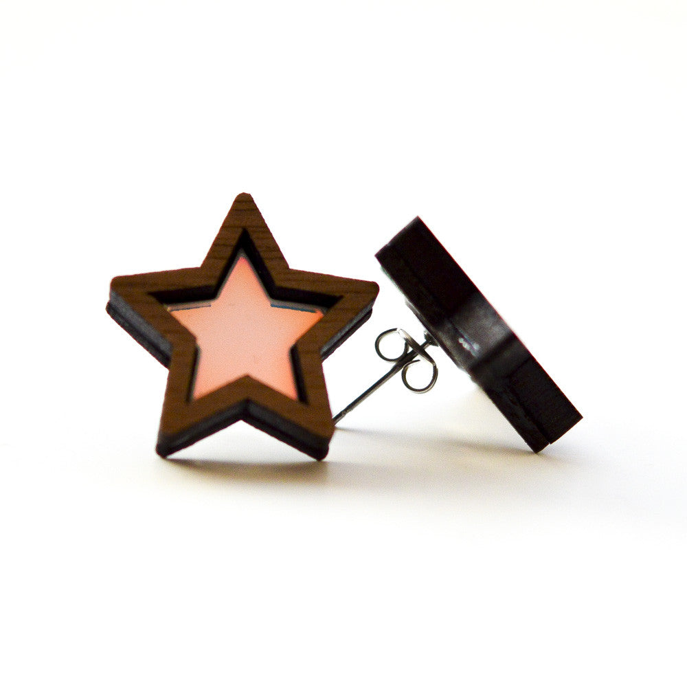 Iridescent Star Stud Earrings