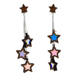 Iridescent Triple Star Dangle Stud Earrings