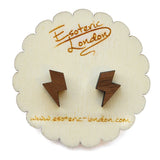 Tiny Wooden Lightning Stud Earrings
