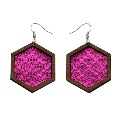 Leather Inlay Stud Earrings - Hexagons