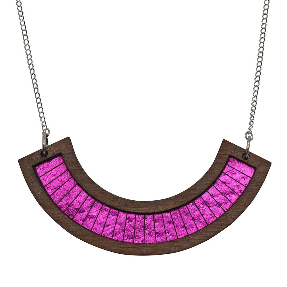 Leather Inlay Necklace - Curve