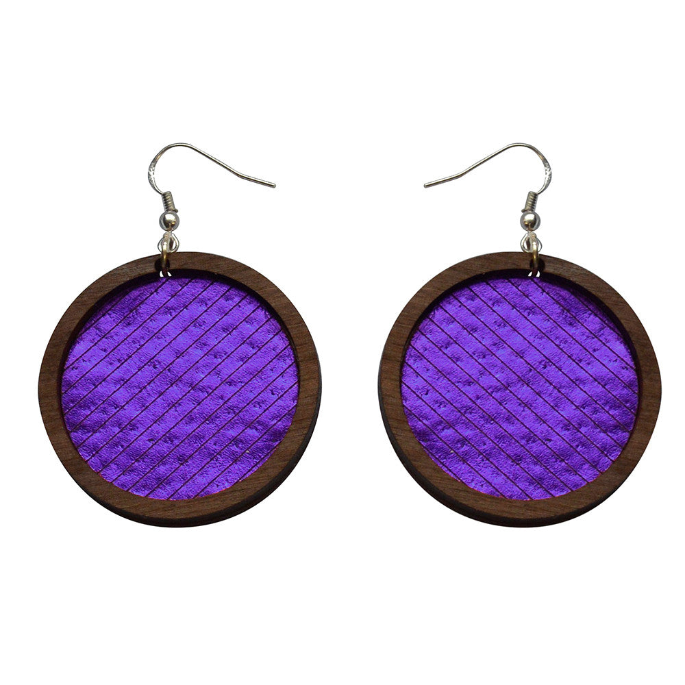 Leather Inlay Dangle Earrings - Circles