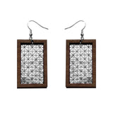 Leather Inlay Dangle Earrings - Rectangles