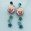 Watercolour Pansy Shooting Star Earrings
