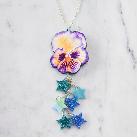 Watercolour Pansy Contrast Tassel Necklace