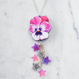 Watercolour Pansy Shooting Star Necklace