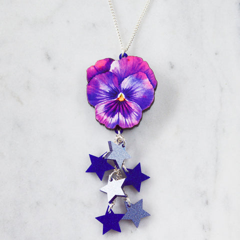 Large Watercolour Pansy Bib Necklace