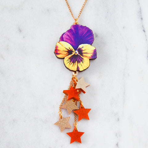 Long Pansy & Tassel Keyring/ Bag Charm