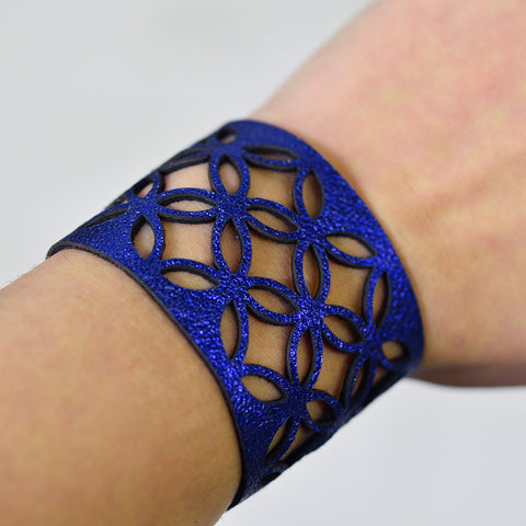 Azulejo Wide Leather Cuff - Royal Blue