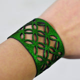 Azulejo Wide Leather Cuff - Green