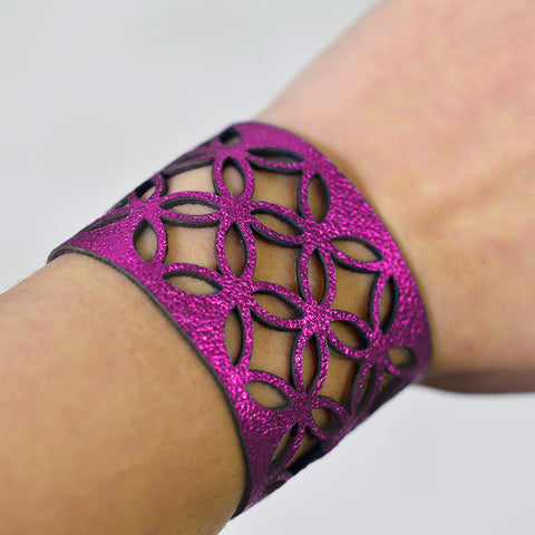 Azulejo Wide Leather Cuff - Hot Pink