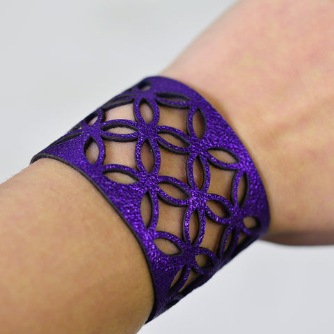 Azulejo Wide Leather Cuff - Purple