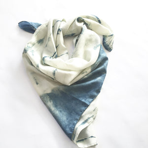 Natural indigo silk scarf