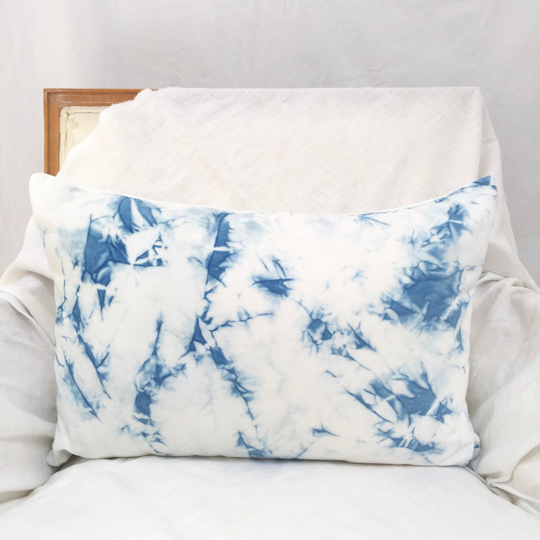 natural indigo dyed cotton velvet pillow cover