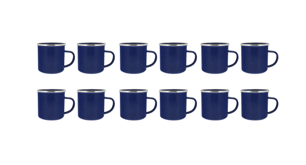 24 oz Enamel Mug 12 Pack - Metal Camping Mug with Blue Enamel Finish - Coffee Mug for Camping, Hiking & Picnics