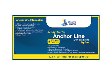 "1/2"" x 150' White 3 Strand Twisted Nylon Anchor Line - Boat Accessories"