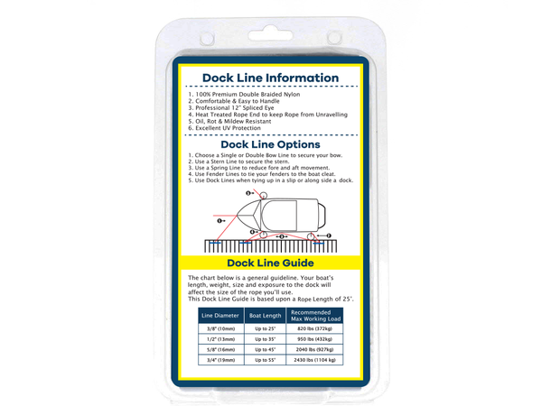 "1/2"" x 30' - White - Double Braided Nylon Dock Line - For Boats up to 35' - Sold Individually"