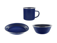 "Camping Dinnerware 8-Person Set, 24 Items- 8 ea of 24 oz Mugs, 6"" Bowls & 10"" Plates Metal w/ Blue Enamel Finish"