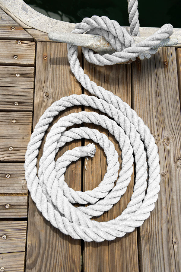 "3/8"" x 100' White 3 Strand Twisted Nylon Anchor Line - For Boats up to 25' -   Sold Individually"