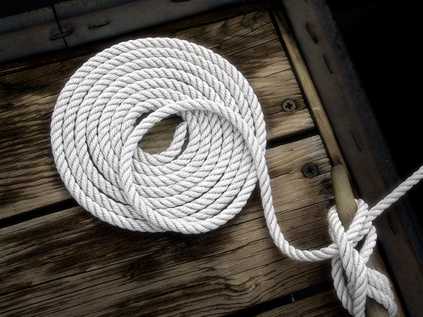 "1/2"" x 20' White 3 Strand Twisted Nylon Dock Line - For Boats up to 35' -  Sold Individually"