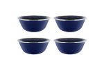 "Camping Dinnerware 4-Person Set, 12 Items - 4 ea of 24 oz Mugs 6"" Bowls & 10"" Plates Metal w/ Blue Enamel Finish"