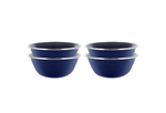 "6"" Enamel Camping Bowl - 4 Pack Metal Camping Bowl with Blue Enamel Finish - For Camping, Hiking & Picnics"