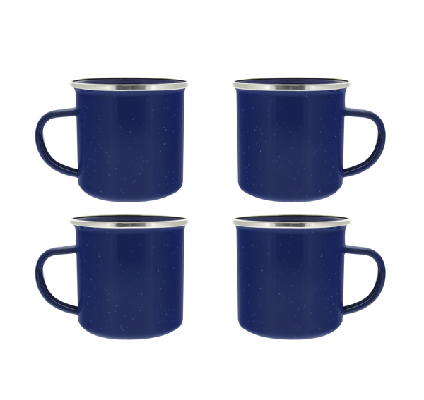 24 oz Enamel Mug - 4 Pack - Metal Camping Mug with Blue Enamel Finish - Coffee Mug for Camping, Hiking & Picnics