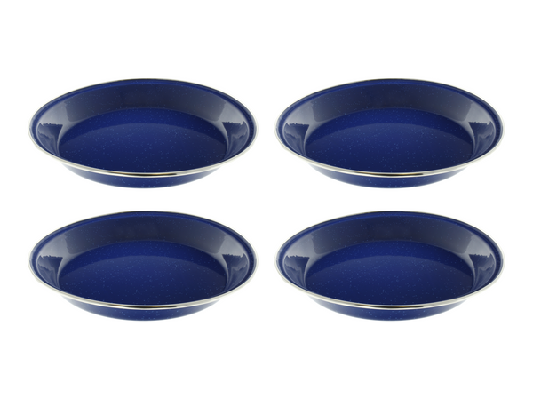 "10"" Enamel Camping Plates - 4 Pack Metal Camping Plates with Blue Enamel Finish - For Camping, Hiking & Picnics"