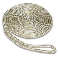SeaSense Double Braid Nylon Dock Line, 3/8-Inch X 25-Foot, Gold/White