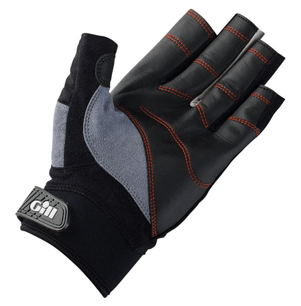 Gill Short Finger Championship Gloves - Large Black & Gill Race Cap 2017 - Silver Gray Bundle (2 Items)