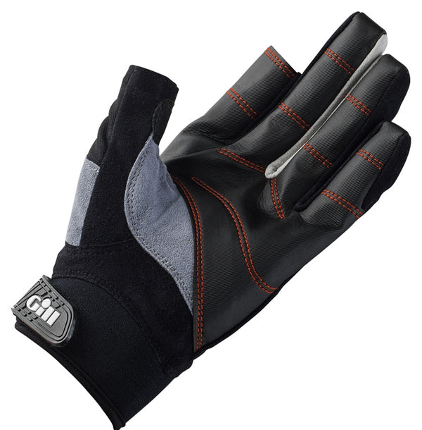 Gill Long Finger Championship Gloves - Medium Black 2017 Model & Gill Race Cap 2017 - Graphite Bundle (2 Items)