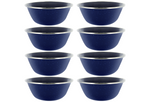"6"" Enamel Camping Bowl - 8 Pack Metal Camping Bowl with Blue Enamel Finish - For Camping, Hiking & Picnics"