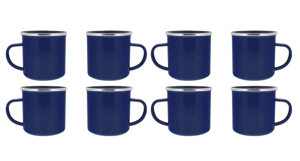 24 oz Enamel Mug - 8 Pack - Metal Camping Mug with Blue Enamel Finish - Coffee Mug for Camping, Hiking & Picnics
