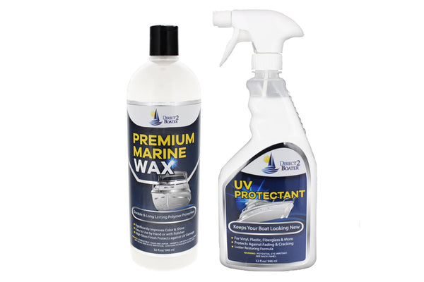 UV Protectant Spray for Vinyl, Plastic, Rubber, Fiberglass, etc 32 fl oz & High Gloss Premium Marine Wax 32 oz (2 Items)