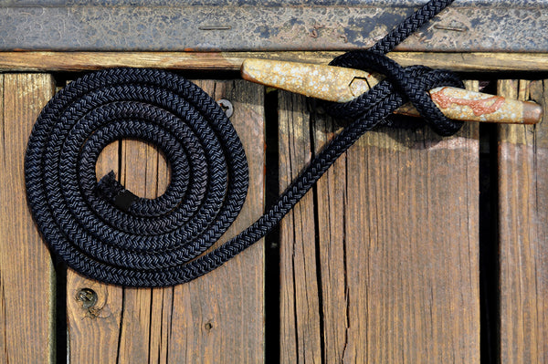 "1/2"" x 25' Black REFLECTIVE Double Braided Poly Dock Line  - For Boats up to 35' - Sold Individually"