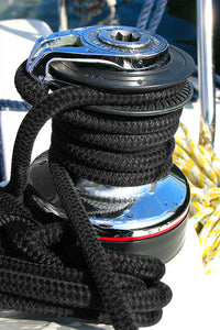 "3/8"" x 15' Black Solid Braided Poly Dock Line w/Chafe Guard For Boats up to 25' - Sold Individually"