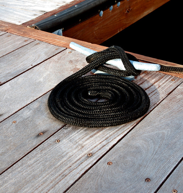 "3/8"" x 15' Black Double Braided Nylon Dock Line - For Boats up to 25' -  Sold Individually"